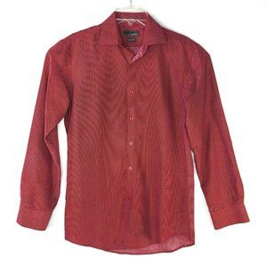 Black Label Ruffini Mens Button Front Shirt Red Wh